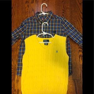 Boys Polo Sweater Vest and Chaps shirt